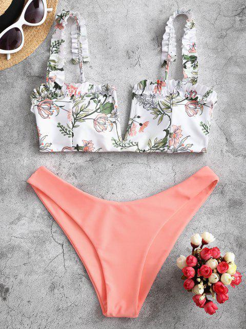 Costume da Bagno Bikini Stampato Pianta con Volant di ZAFUL - Rosa arancio M Mobile