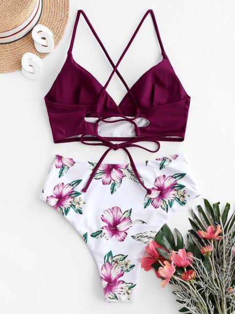 ZAFUL Maillot de Bain Bikini Fleuri Croisé à Taille Haute - Prune S Mobile