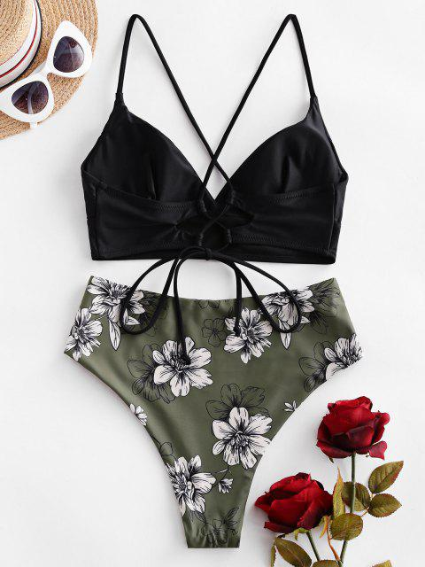Costume da Bagno Bikini Incrociato Floreale a Vita Alta di ZAFUL - Verde Camouflage  S Mobile