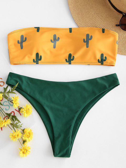Kaktus Druck Bandeau Bikini - Niedliches Gummi Gelb M Mobile