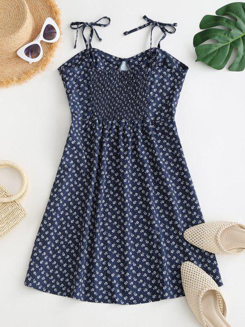 ladies Tie Ditsy Print Smocked Back Bustier Dress - DEEP BLUE M Mobile