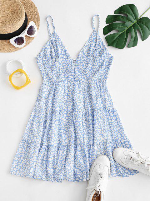 women Ditsy Print Chiffon Tiered Sundress - LIGHT BLUE M Mobile