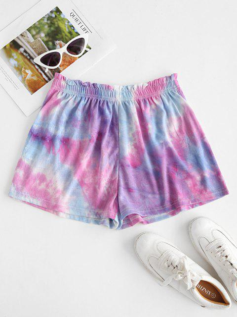 shop Tie Dye Frilled Pull On Shorts - LIGHT PURPLE XL Mobile