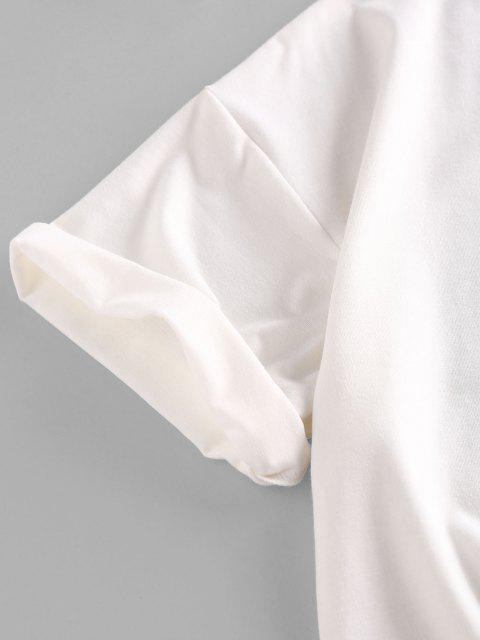 ZAFUL Camiseta de Gota Ombro Oriental em Forma de Dragão D'água - Branco M Mobile