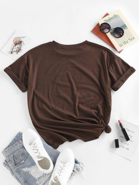 ZAFUL Camisola de Mangas Compridas com Estampa de Estrela e Lua - Café Escuro M Mobile