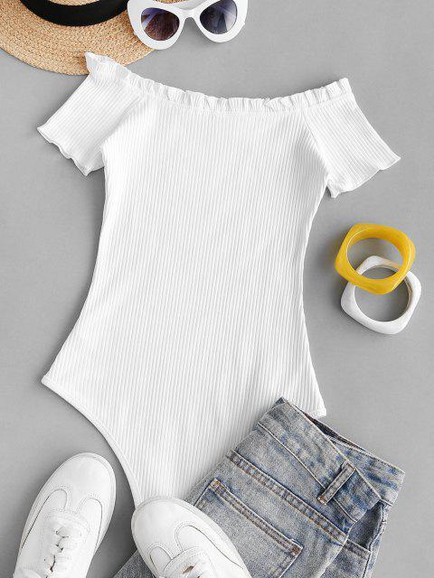 Gerippter Bodysuit mit Rüschen und Tiefem Schritt - Weiß S Mobile