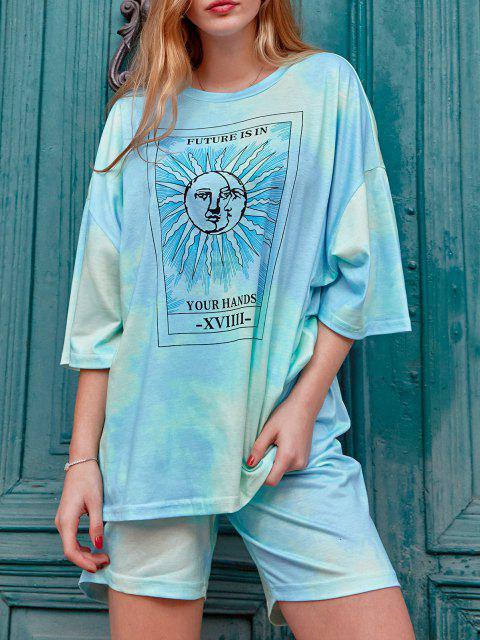 women's Tie Dye Sun Pattern Drop Shoulder Two Piece Shorts Set - BLUE L Mobile