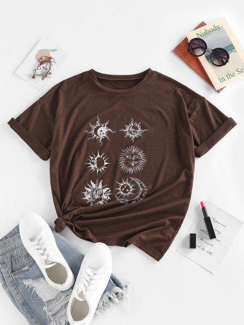 new ZAFUL Sun Moon Star Print Drop Shoulder T Shirt - DEEP COFFEE S Mobile