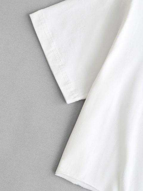 Camiseta Barriga-de-Fora sem Costura e Estampa Gráfica Cortado - Branco L Mobile