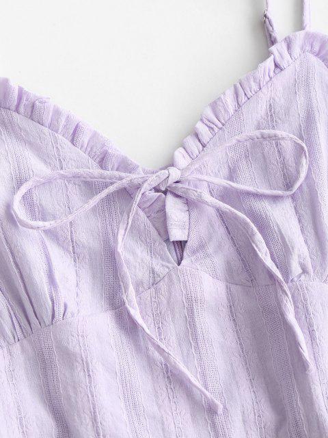Spaghettibügel Rüschen Strukturiertes Kleid - Helles Lila L Mobile