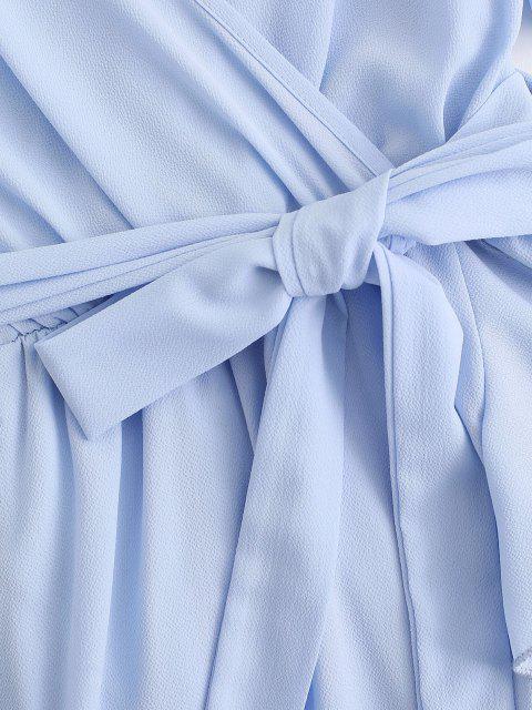 outfits Belted Ruffles Overlap Flutter Sleeve Dress - LIGHT BLUE S Mobile