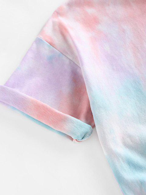 ZAFUL Camiseta de Parede de Gota Ombro Sol Tingimento de Gravata - Multi L Mobile