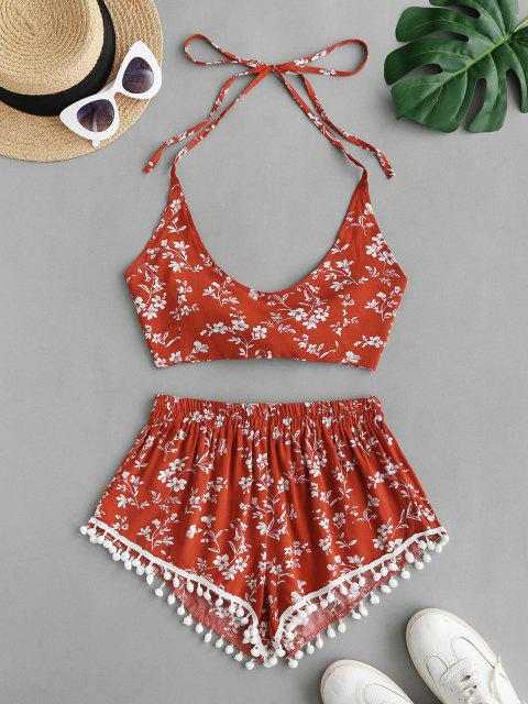 chic Halter Floral Pom-pom Two Piece Shorts Set - RED S Mobile