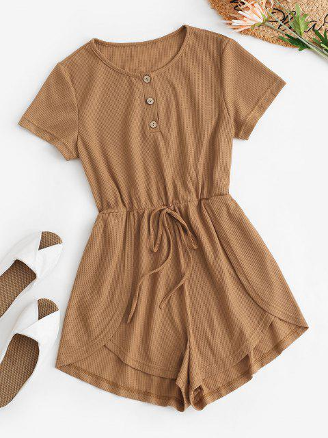 new Half Placket Overlay Tied Knit Romper - LIGHT COFFEE M Mobile