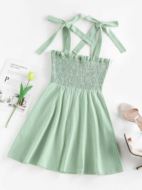 ZAFUL Mini Kleid mit Leopardenrüschen und Flare Kleid - Hellgrün L Mobile