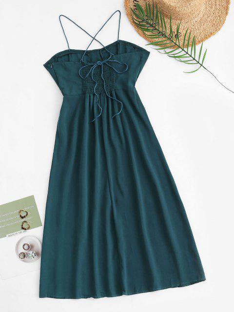ladies Tie Back Smocked Front Slit Midi Dress - GREEN S Mobile