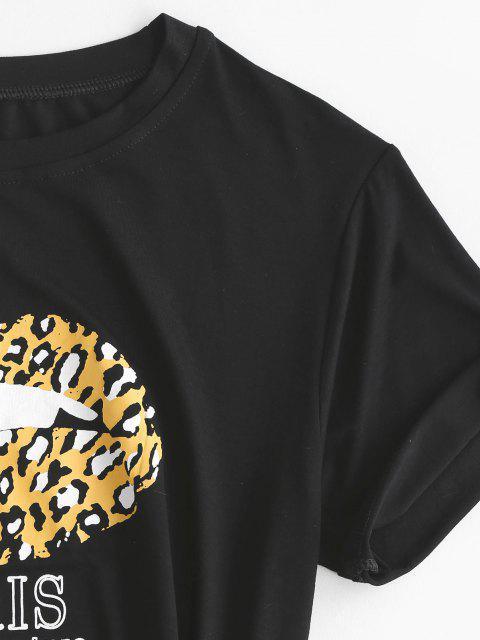 Tee Assemétrico com Gráfico de Leopardo da Lábio do Leopardo - Preto M Mobile