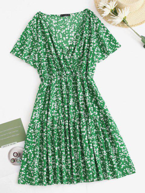 shop Plus Size Ditsy Floral Print Surplice Dress - GREEN 3XL Mobile