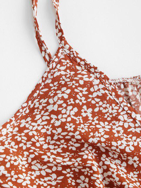 online Ties Ditsy Print Ruffled Hem Crop Top - RED M Mobile