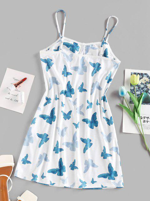 ZAFUL Mini Cami Sommerkleid mit Schmetterlingsdruck - Weiß L Mobile