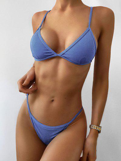 ZAFUL Ribbed Tie String Bikini Swimsuit - Ocean Blue S