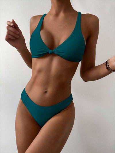 ZAFUL Bow High Leg Bikini Swimsuit - Peacock Blue M