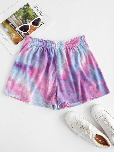 Shorts De Tie-dye Con Volantes Y Cordones - Luz Púrpura S