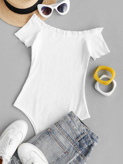 Ribbed Frilled Snap Crotch Bodysuit - White S