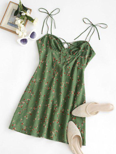 Spaghetti Strap Tie Floral Bustier Dress - Deep Green M