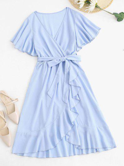 Belted Ruffles Overlap Flutter Sleeve Dress - Light Blue M