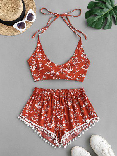 Halter Floral Pom-pom Two Piece Shorts Set - Red S