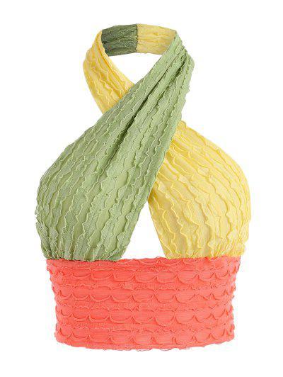 Halter Cross Colorblock Lettuce Texture Top - Multi L