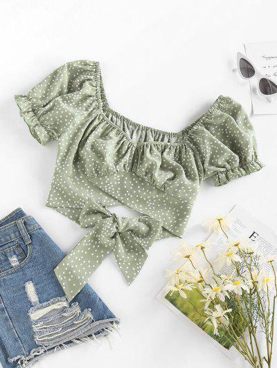 ZAFUL Polka Dot Tulip Hem Ruffle Bowknot Crop Blouse - Light Green S