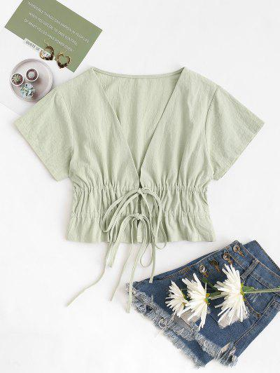 Drawstring Tied Plunge Ruched Blouse - Light Green S