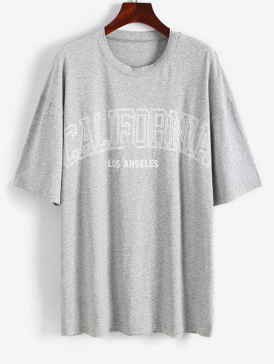 T-shirt Tunique Lettre Graphique à Goutte Epaule - Gris M