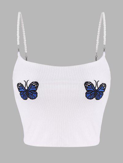 Ribbed Butterfly Embroidered Faux Pearl Straps Top - White M