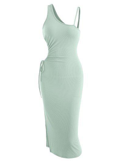 Ribbed Slit Cutout Skew Collar Bodycon Dress - Green S