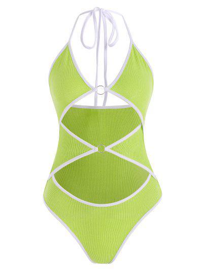 Ribbed O Ring Cutout Contrast Binding Bodysuit - Green M