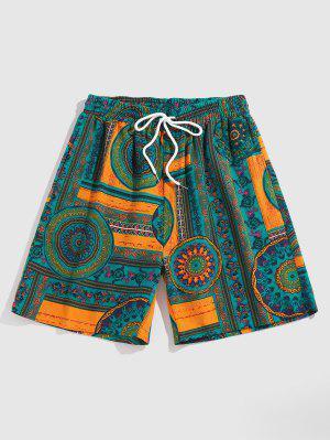 zaful ZAFUL Flower Tribal Print Vacation Shorts