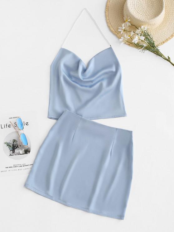 women's Faux Pearl Halter Cowl Front Bodycon Skirt Set - LIGHT BLUE S