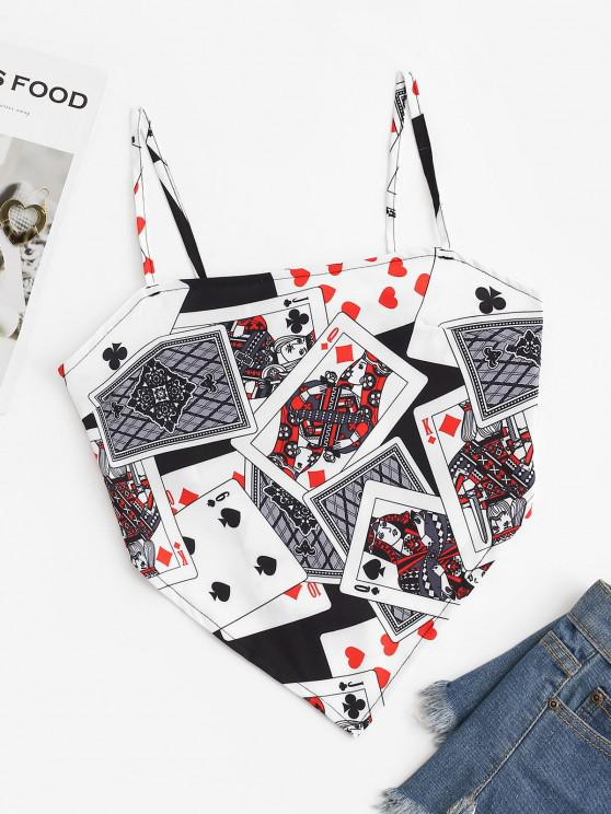 new Playing Poker Card Knotted Napkin Cami Top - WHITE S