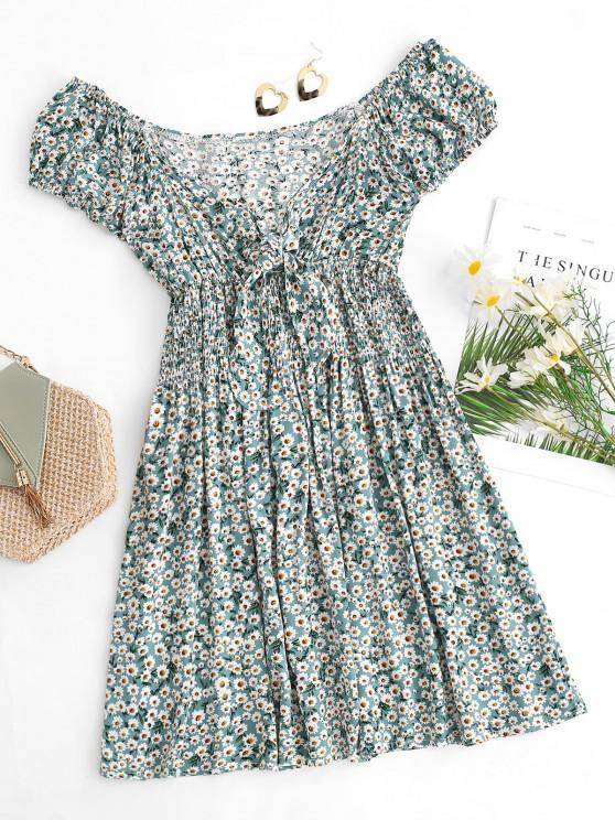 Robe D'Eté Fleurie Nouée Plissée - Vert clair S