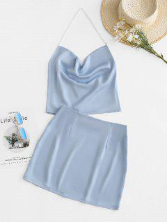 Faux Pearl Halter Cowl Front Bodycon Skirt Set - Light Blue M