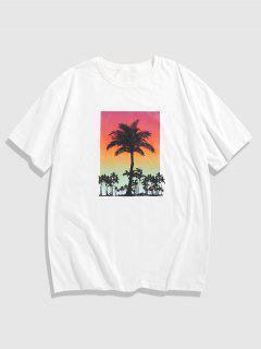 Short Sleeve Sunset Coconut Trees Print T-shirt - White M