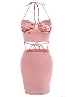 Sheeny Flossing Strap Cupped Skirt Set - Light Pink S