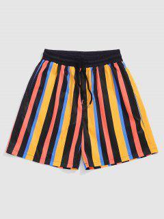 ZAFUL Contrasting Stripe Vacation Shorts - Yellow M