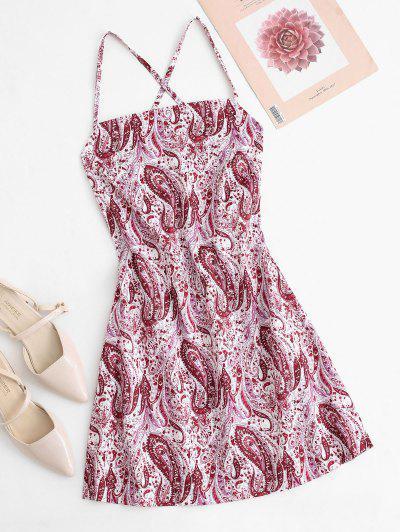 Paisley Print Criss Cross Mini Slip Dress - Multi L