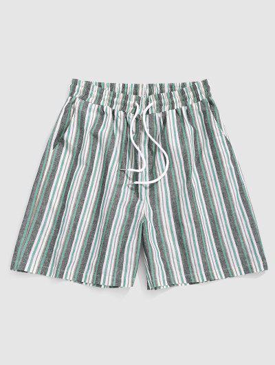 ZAFUL Vertical Stripe Print Casual Shorts - Light Green Xxl