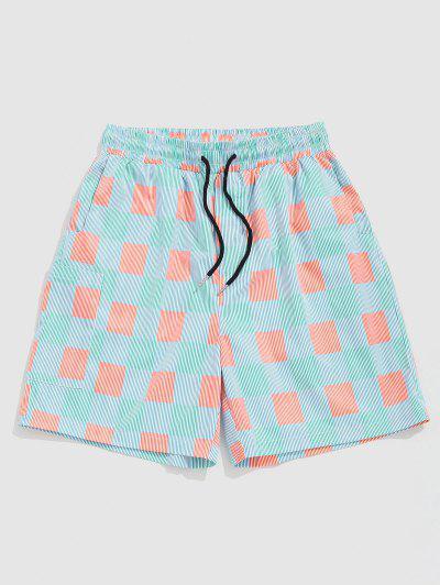 ZAFUL Striped Plaid Vacation Shorts - Light Blue Xxl