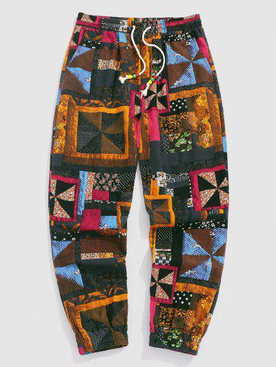 ZAFUL Patchwork Print Bohemian Jogger Pants - Multi M